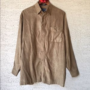 Alan Flusser Brown Plaid Faux Suede Button Down